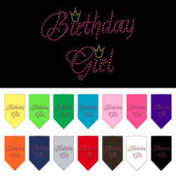birthday girl crown rhinestone dog bandana colors