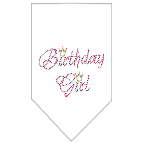 birthday girl crown rhinestone dog bandana white