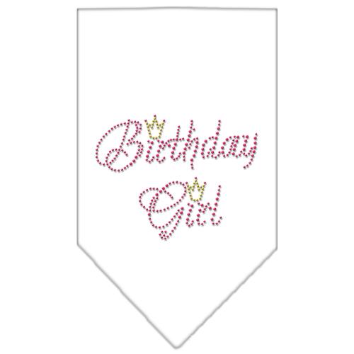 birthday girl crown rhinestone dog bandana white