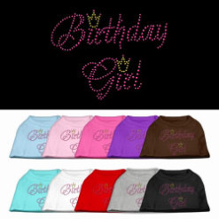 birthday girl crown rhinestone sleeveless dog t-shirt colors
