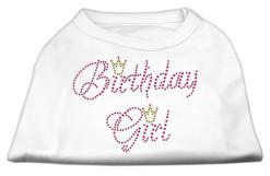 birthday girl crown rhinestone sleeveless dog t-shirt white