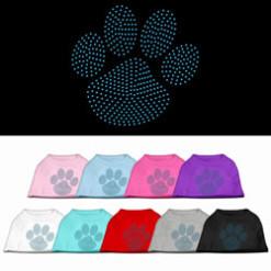 blue dog paw rhinestone sleeveless dog t-shirt colors