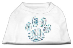 blue dog paw rhinestone sleeveless dog t-shirt white