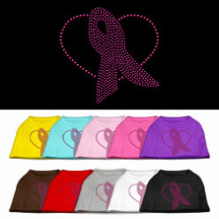 breast cancer awareness ribbon heart rhinestones dog t-shirt colors