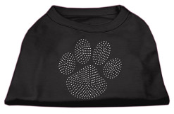 clear rhinestones dog paw flag dog t-shirt black