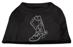 cowgirl boots rhinestone sleeveless dog t-shirt black
