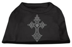 decorative cross rhinestones dog t-shirt black