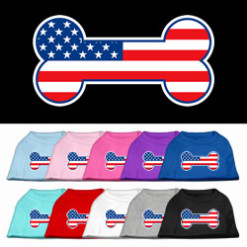dog bone American flag outline dog screen print t-shirt colors