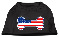 dog bone American flag outline dog screen print t-shirt colors black