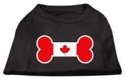 dog bone Candian Maple Leaf flag outline dog screen print t-shirt black