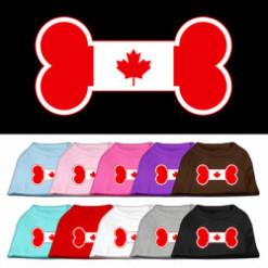 dog bone Candian Maple Leaf flag outline dog screen print t-shirt multi color