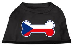 dog bone Czech Republic flag outline dog screen print t-shirt baby black