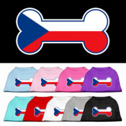 dog bone Czech Republic flag outline dog screen print t-shirt multi color