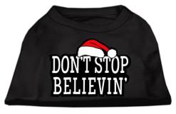 don't stop believin sant hat christmas dog t-shirt black
