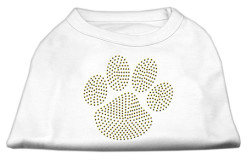 gold dog paw rhinestones dog t-shirt white