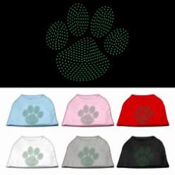 green dog paw rhinestones dog t-shirt colors