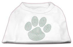 green dog paw rhinestones dog t-shirt white