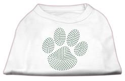 green dog paw rhinestones dog t-shirt white