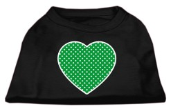 green polka dot heart dog t-shirt black