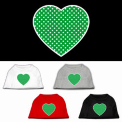 green polka dot heart dog t-shirt multi-colors