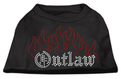 outlaw flames rhinestones dog t-shirt black