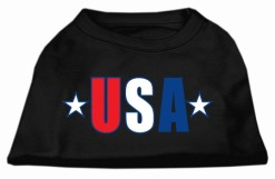 patriotic USA text and stars sleeveless dog t-shirt black