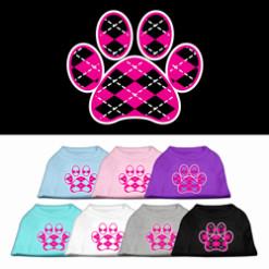 pink Argyle dog paw dog t-shirt multi colors