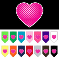 pink polka dot heart dog bandana