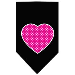 pink polka dot heart dog bandana black