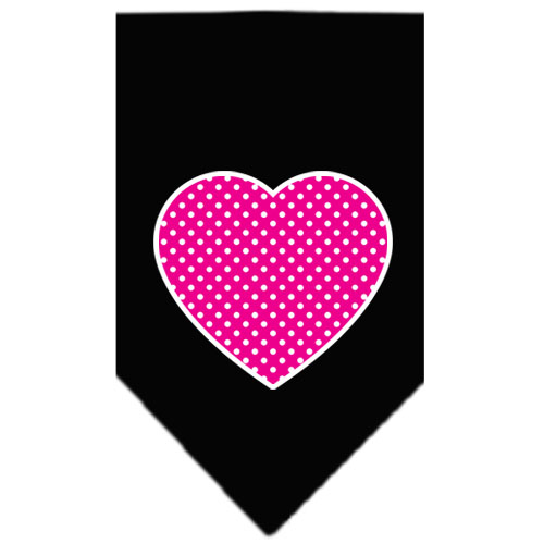 pink polka dot heart dog bandana black