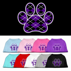 purple Argyle dog paw dog t-shirt multi colors