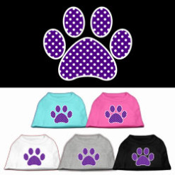purple polka dot Screenprint dog paw t-shirt sleeveless