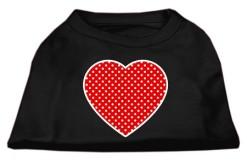 red polka dot Screenprint hearts t-shirt sleeveless black
