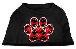 red Argyle dog paw dog t-shirt black
