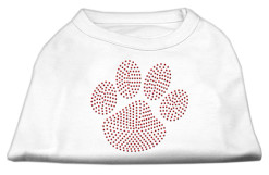 red dog paw rhinestones dog t-shirt white