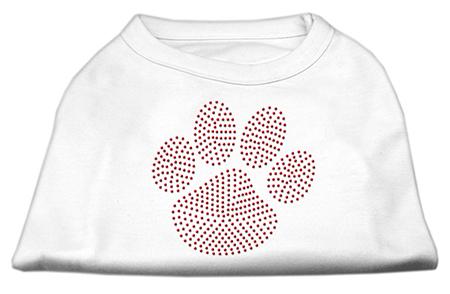 red dog paw rhinestones dog t-shirt white