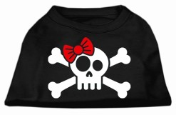 skull and crossbones red bowtie female screen print sleeveless shirt