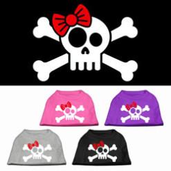 skull and crossbones red bowtie female screen print sleeveless shirt colors