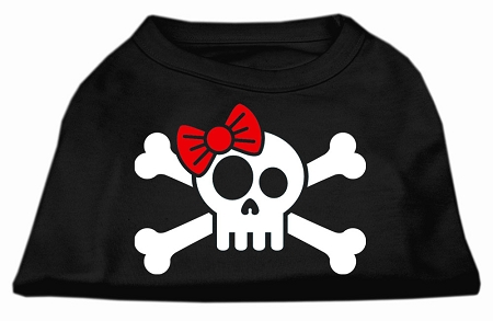 skull and crossbones red bowtie female screen print sleeveless shirt