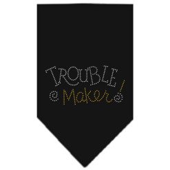 trouble maker rhinestone dog bandana black