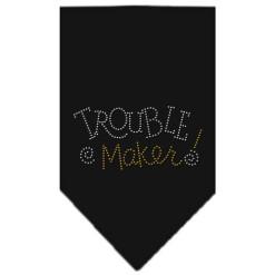 trouble maker rhinestone dog bandana black