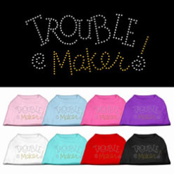 troublemaker rhinestones dog t-shirt colors