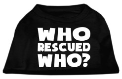 who rescued who sleeveless adoption dog t-shirt black