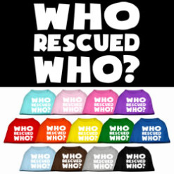who rescued who sleeveless dog t-shirt colors