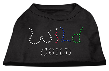 wild child rhinestones dog t-shirt black