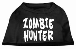 zombie hunter screen print sleeveless dog t-shirt black