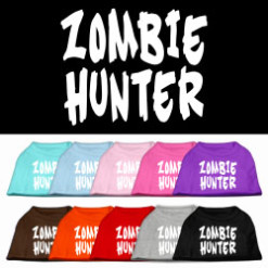 zombie hunter screen print sleeveless dog t-shirt colors